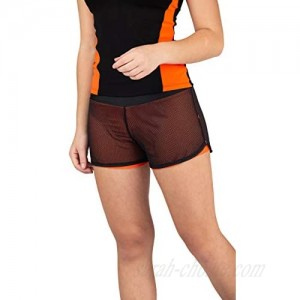 Girls Athletic Shorts Active Workout Double Layers Stretch Woven or Mesh (Orange mesh  14-16)