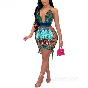 Sprifloral Women's Sexy Sequin Dresses - Sleeveless Bandage Lace Up Bodycon Mini Party Club Dress